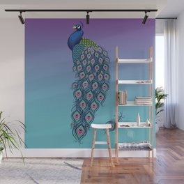 Colorful Peacock with Feathers Wall Mural