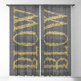 Blow BLACK & GOLD / Horn instruments forming type and background Sheer Curtain