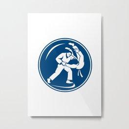 Judo Combatants Throw Circle Icon Metal Print