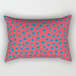 Polka Dots, Spots - Red Turquoise Teal Rectangular Pillow