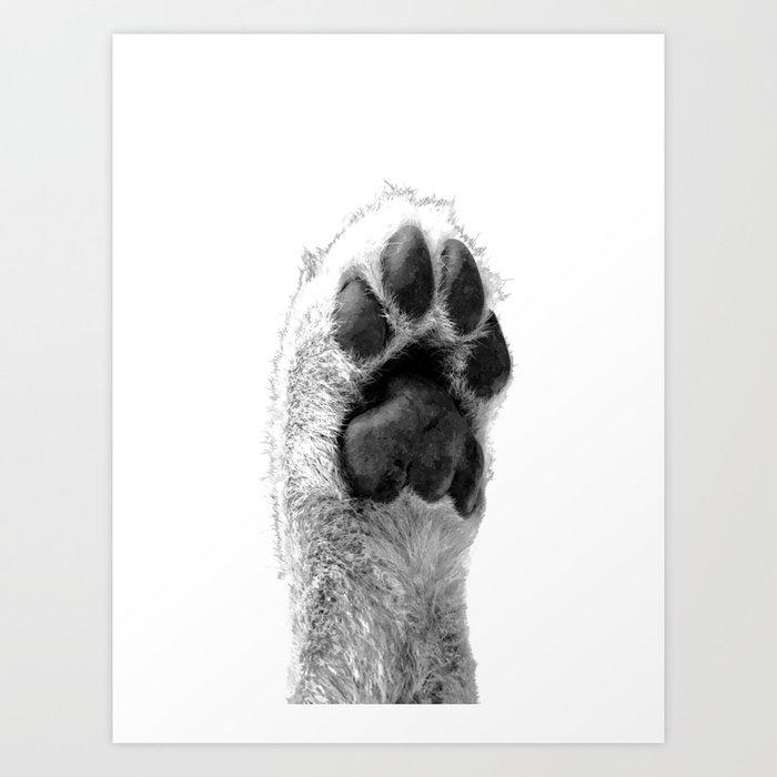 Black and White Dog Paw Art Print