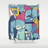 zissou Shower Curtains featuring The Life Acquatic with Steve Zissou by Ale Giorgini