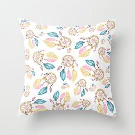 Hand painted watercolor pastel boho dreamcatcher pattern Throw Pillow