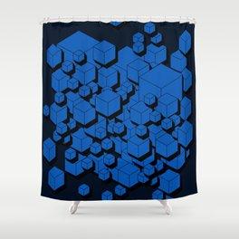 3D Cobalt blue Cubes Shower Curtain