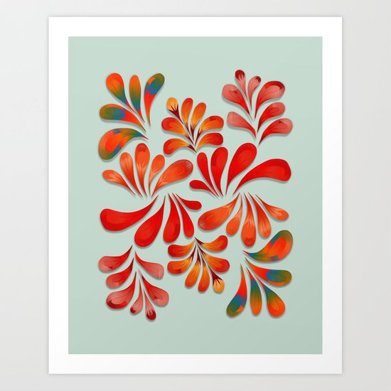 Floral Dance in Red Art Print