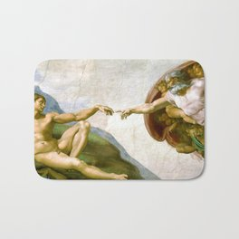 The Creation of Adam Painting by Michelangelo Sistine Chapel Bath Mat