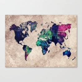 World map watercolor 1 Canvas Print
