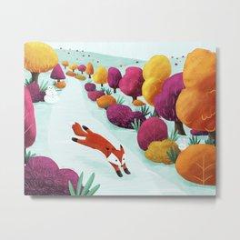 Winter Fox Metal Print