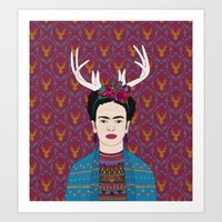 frida Art Prints featuring DEER FRIDA by Bianca Green