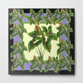 Green Tropical Botanical Foliage  Lilac-Black Art Metal Print