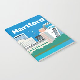 Hartford, Connecticut - Skyline Illustration by Loose Petals Notebook