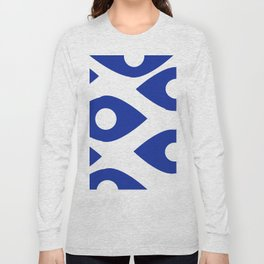 Blue and White Pattern Fish Eye Design Long Sleeve T-shirt