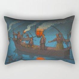 Beautiful Vintage Japanese Woodblock Print Japanese Fisherman Flame Torch Rectangular Pillow