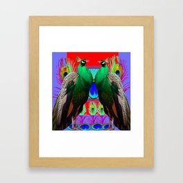 GREEN PEACOCKS & RED-PURPLE  MODERN ART Framed Art Print