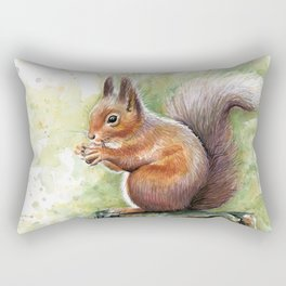 Squirrel and Nut Forest Animals Watercolor Rectangular Pillow