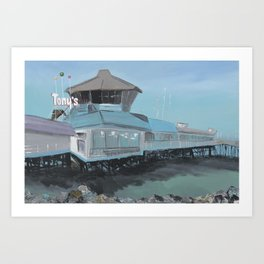 Redondo Beach: Retreat (Tony's on the Pier) Art Print