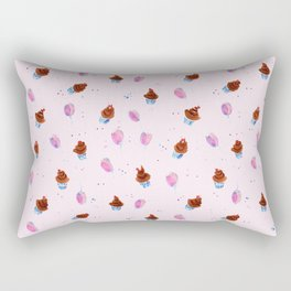 Seamless hand drawn pattern with brown cakes and violet balloons on pink background. Watercolor back Rectangular Pillow