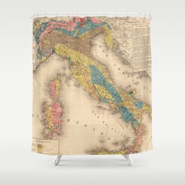 Vintage Italy Geology Map (1844) Shower Curtain
