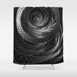Shining Silver Corded Fractal Bangles Shower Curtain