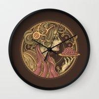 bon iver Wall Clocks featuring Bon Appetit by Enkel Dika