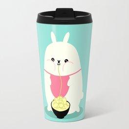 Fat bunny eating noodles Travel Mug