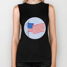 USA Flag Stars and Stripes on Flagpole Circle Cartoon Biker Tank