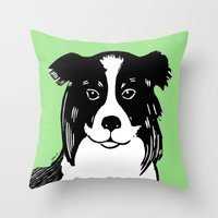 border collie Throw Pillows featuring Border Collie Printmaking Art by Artist Abigail