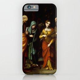 "Antonio Allegri da Correggio ""Saints Peter, Martha, Mary Magdalen, and Leonard"" iPhone Case"