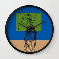 queens of the stone age Wall Clocks featuring Age by Hazel Bellhop