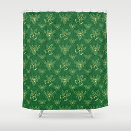 Green Christmas Pattern Shower Curtain