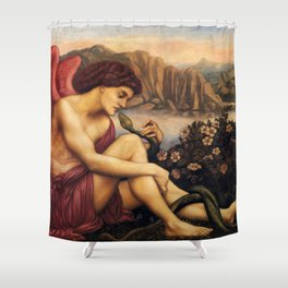 "Evelyn De Morgan ""The angel with the serpent"" Shower Curtain"