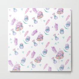 Rainbow Skull Succulent Crystal Garden Pattern Metal Print