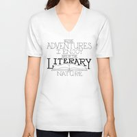 literary V-neck T-shirts featuring Literary Adventures by Drop and Give Me Nerdy