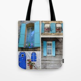 Blue Shutters at Work Tote Bag