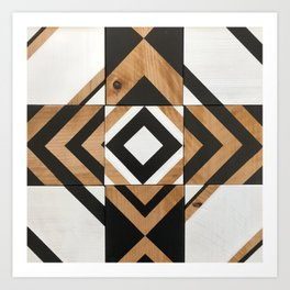 Modern Wood Art, Black and White Chevron Pattern Art Print