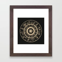 Vintage Zodiac & Astrology Chart | Charcoal & Gold Framed Art Print