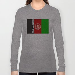 Afghanistan country flag name text Long Sleeve T-shirt