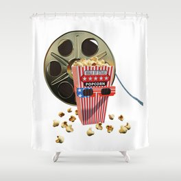 3D Movie Reel and Buttered Popcorn Shower Curtain