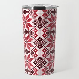 Romanian Traditional Embroidery - Red Travel Mug