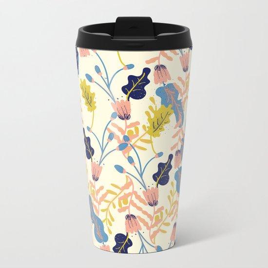 Pastel Floral Pattern Metal Travel Mug