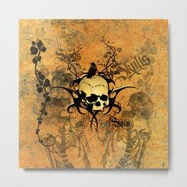 Awesome skul and crow Metal Print