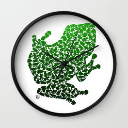 100 Poison Frogs - Green Wall Clock