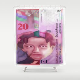 20 Swiss Francs note bill -Front side Shower Curtain