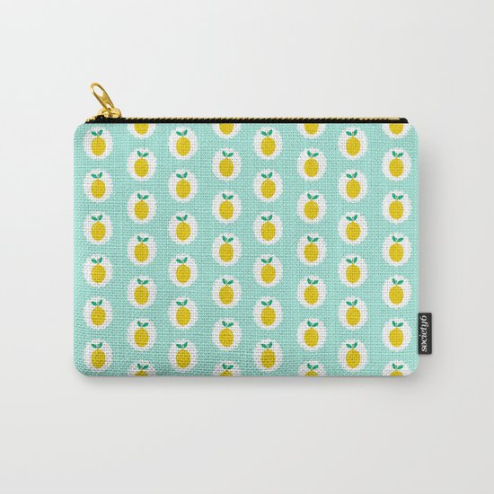 Lemons pastel mint white yellow summer fruit tropical lemonade vacation trendy pattern food print Carry-All Pouch