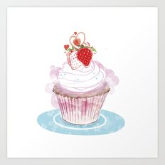 Strawberry Cupcake  Art Print