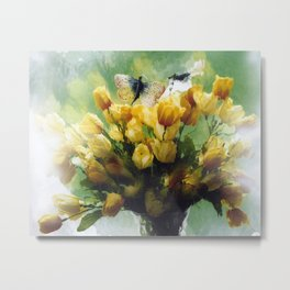 Yellow Impressionistic Tulips Spring Bouquet Floral Cottage Wall Art Home Decor Metal Print