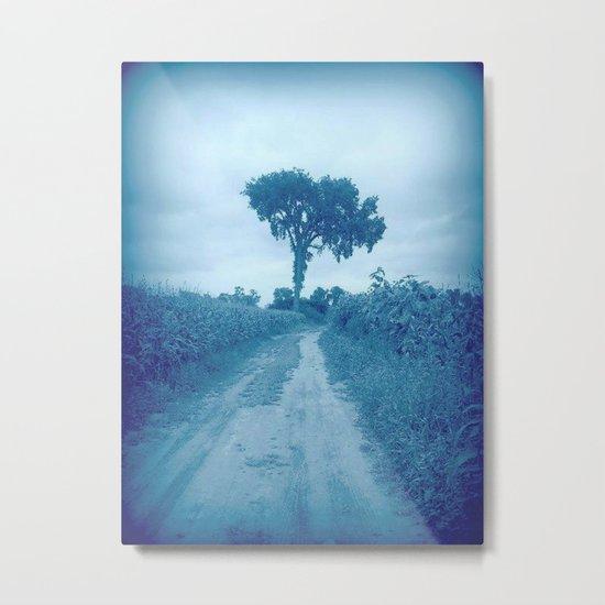 The Tree in Blue Metal Print