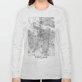 Portland White Map Long Sleeve T-shirt