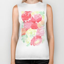 Red Blooms with Wattle Biker Tank