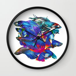 FIGHTING FISHES BETTA - Animals | Psychedelic | 70's | Abstract | Pop | Surrealism | Nature Wall Clock
